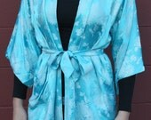 Vintage Japanese Joli Silk Blue and Silver Floral Kimono Size Small / Medium - Costume - Boudoir Attire Gift For Her Christmas 2015
