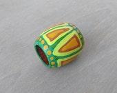 Dreadlock Bead Green Tribal Hair Bead - Wood Hand Painted Dread Bead - 10mm hole