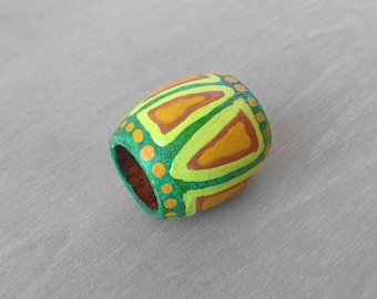 Dreadlock Bead Green Tribal Hair Bead - Wood Hand Painted Dread Bead - 10mm hole
