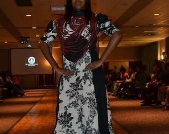 custom  flared black and white jumpsuit. With 3d sleeves.Custom order