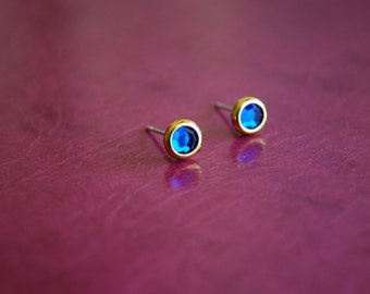 Tiny Blue Studs -- Earrings, Blue Rhinestones, Gold