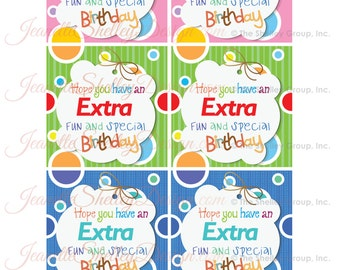 instant download / DIY Printable Gum Birthday Gift Tags
