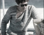 No.270 Knitting Pattern PDF Vintage - Men's Asymmetrical Button Sweater - Retro Knitting Pattern - Instant Download