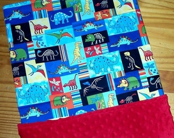 Clearance Sale Baby Boy Minky Blanket Dinosaurs Red Blue Ready to Ship