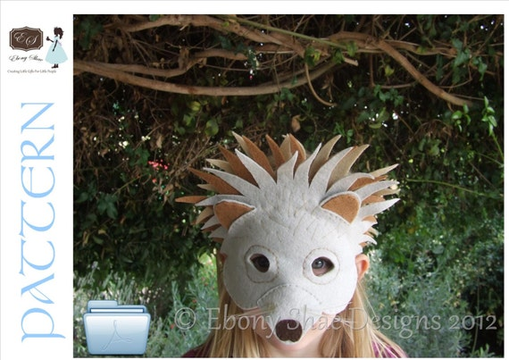 Hedgehog mask and Australian Echidna mask PATTERNS. Instant Download sewing pattern for zoo animal kids costume PDF.