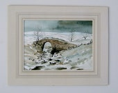 Vintage Art Winter Painting OOAK Painting Snow Painting Vintage Landscape Painting Vintage Watercolor Painting Pack Horse Bridge Thorns Gill
