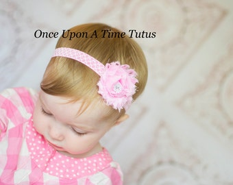 Light Pink Quatrefoil Print Headband - Pink & White Moroccan Printed Hair Bow - Little Girls Trendy Hairbow - Toddler Infant Child Accessory