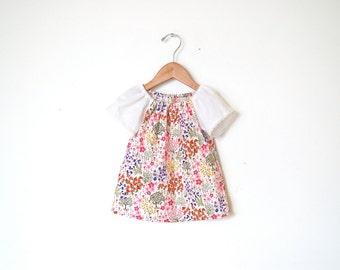 Girls Peasant Top / White Spring Floral with lace accents  / newborn - 5T