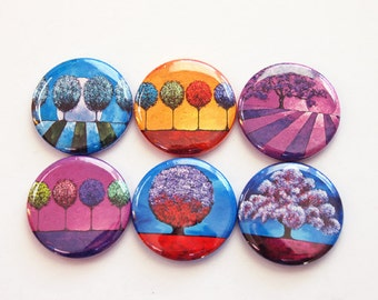 Tree magnets, Nature Magnets, Button magnets, Kitchen Magnet, Fridge Magnet, Bright colors, trees, abstract design (3451)