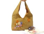 Hobo Bag, Ribbon Embroidered Shoulder Bag, Ribbon Flowers, Brown, Purse, Tote, Flower bag, Delicious Brown