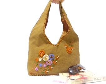 Hobo Bag, Ribbon Embroidered Shoulder Bag, Free Shipping, Ribbon Flowers, Brown, Purse, Tote, Flower bag, Delicious Brown