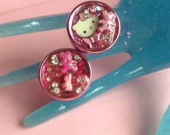Fun Pink Chunky Girly Rings, plastic, resin filled, Kitty or Teddy Bear, U.S.size 7 / medium, made in Greece