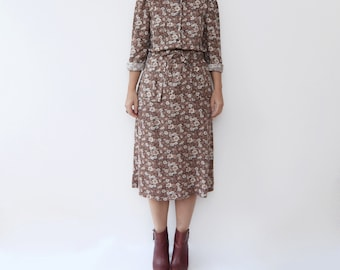 Vintage floral brown 70s long sleeve autumn boho dress