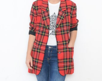 Vintage red wool plaid women 90s blazer jacket grunge trend oversized fit small medium