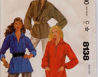 Sewing Pattern, Pullover Top With Collar, Sleeve, Placket, Pocket and Hem Variations 1980s Pattern, McCall's 8138, Size XL, Free US Shipping
