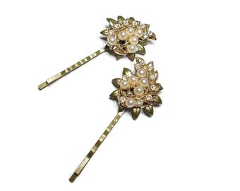 Hair Pins Pearl Rhinestone Bride Wedding Vintage Findings