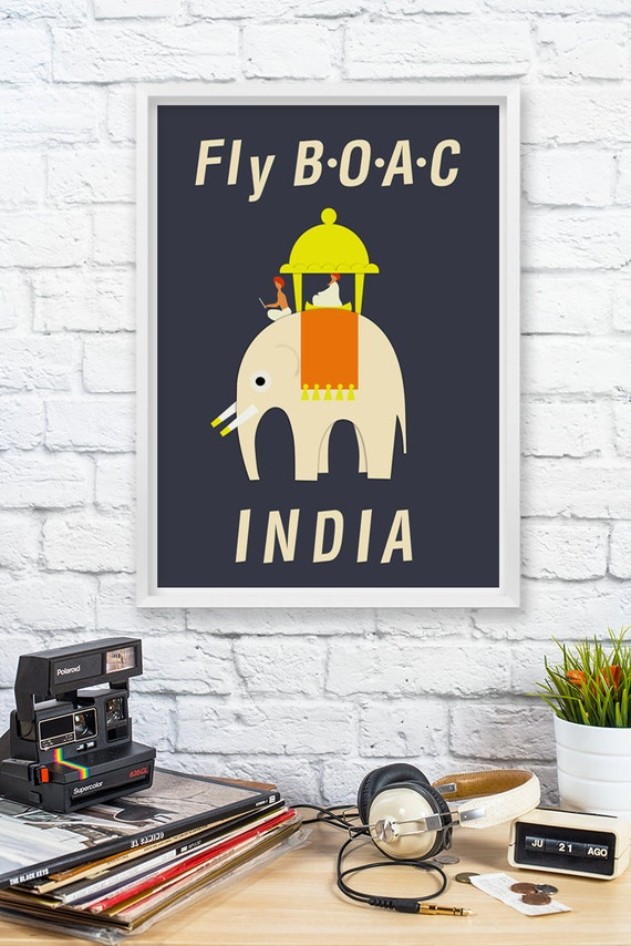 Vintage Art Print Poster Fly BOAC INDIA - Travel Poster Art Print - Room Decor - Wall Hanging