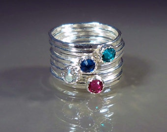 9 Stacking Rings - 4 Birthstone Sterling Silver w/ 5 Stg Silver Stacking Rings, Swarovski Crystals, Mother, Grandmother, Bridesmaids