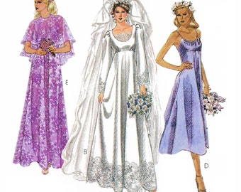 """1979  Misses Empire Waist Bridal Gown or Bridesmaid Dresses, Scoop Neck, Spaghetti Strap, with Cape, McCall's 6910, Sz 12, Bust 34"""", Uncut"""