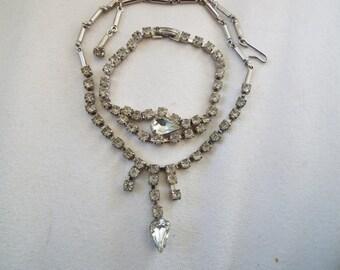 art Deco  rhinestone choker necklace, bracelet set ,Prom, Wedding
