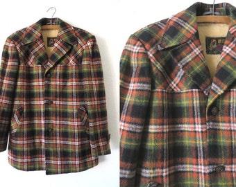 Plaid Wool Overcoat - 70s Sherpa Lined Kramer Mad Men Style Vintage Tartan Car Coat Jacket - Mens Small
