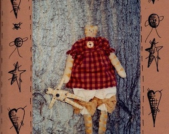Patterns for 15 inch Primitive Kitty Doll and her 5 inch Rag Doll - Miss Kitty and her Dolly - The Thoughtful Shoppe
