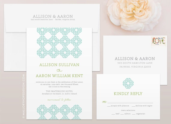 Celtic knot irish wedding invitation rsvp set ireland for Etsy wedding invitations ireland