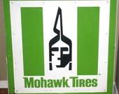 Vintage MOHAWK TIRES Enamel Sign, Vintage Automotive Advertising, Antique Alchemy