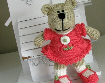 Plush Doll - Hand Knit Bear Stuffed Toy - Stuffed Animal - Handmade Bear - Soft Toy - Kids Toy - Baby Decor - Keepsake Teddy Bear Leslie