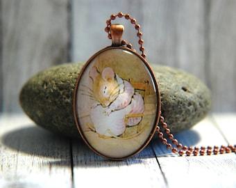 Oval Glass Pendant Necklace, 30mm x 40 mm -  Beatrix Potter - Mrs. Tittlemouse