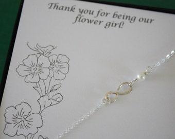Flower Girl Gift, Infinity Bracelet, Child Jewelry, Silver Infinity, Sterling Silver, Flower Girl Bracelet, Thank You Card, Gold