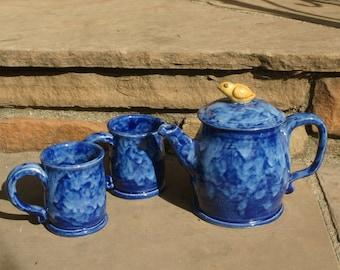Handmade Cobalt Blue Tea Set with Golden Bird knob, Hand thrown Stoneware Pottery, ceramic tea pot and two tea cups, Pottery tea set