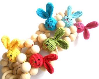 Organic Teething toy Crochet teether Wooden beads rattle Natural teether Wooden teething toy with rabbits head Easter gift