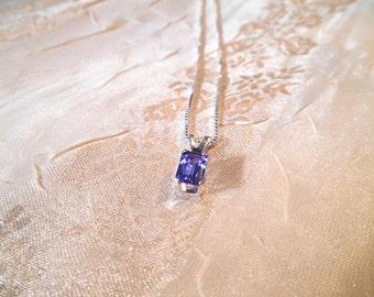 "Emerald Cut Tanzanite Necklace in Sterling Silver on 18"" Box Chain"