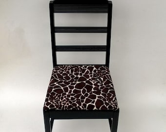 Vintage Accent Chair Faux-Giraffe Fur Upholstered Seat, Painted Black