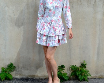 1980s Drop Waist Ruffled Mini Dress in Blush and Lavender Florals - Small