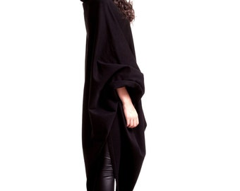 Black Hooded Top /  Extravarant Maxi Asymmetric Hoodie / Quilted Cotton Warm Top/ Oversized Top A07104