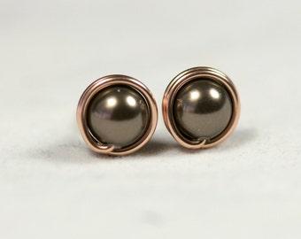 Rose Gold Brown Pearl Earrings Chocolate Brown Pearl Stud Earrings Rose Gold Stud Earrings Rose Gold Pearl Earrings Rose Gold Jewelry