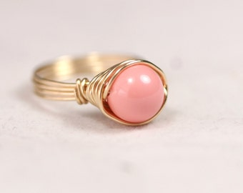 Gold Pink Coral Ring Wire Wrapped Jewelry Handmade Gold Ring Gold Jewelry Pink Ring Pink Coral Jewelry Swarovski Ring Swarovski Jewelry