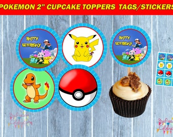 POKEMON Cupcake Toppers - Pokemon TAGS - birthday party favors