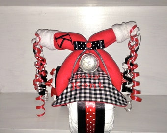 Personalized Radio Flyer Inspired Red, White & Black Diaper Tricycle with Name Embroidered on the Bib and Burp Cloth