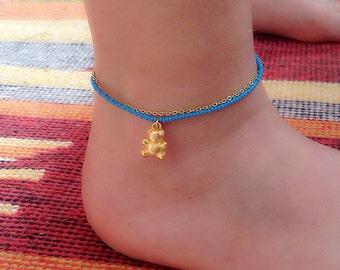 Bear Anklet , Bear Charm Bracelet, Kids Ankle Bracelet, Baby Jewelry,Toddler Jewelry, Blue Jewelry, Flower Girl Jewelry, Bear Charm
