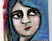 Blue Hair Girl, 5x7 Original Painting, Mixed Media, Girl Portrait, Weird, Bright Colors, Woman Face, Metallic Blue, CraftyMoira