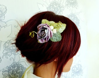 Purple winter Hair Comb, Purple glitter hair comb, Purple bridal hair comb, Winter wedding accessories, Glitter hair comb, Fairy Heasdpiece