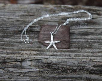 Starfish Necklace, Sterling Silver Starfish Necklace, Star Fish Necklace, Starfish Pendant, Ocean Jewelry - Beach Jewelry - Beach Necklace
