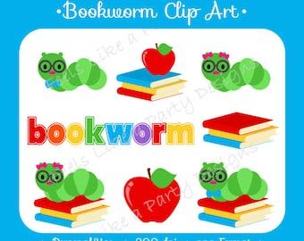 Bookworm Clip Art - Digital File
