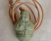 Carved blue jade fertility amulet pendant w leather cord necklace , beaded jewelry , jade figurine , Motherhood Goddess , bead & cord , jade