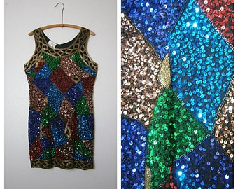 Vintage Sequin Trophy Dress // Multicolored Beaded Sequined Dress // 80's Trophy Dress Large