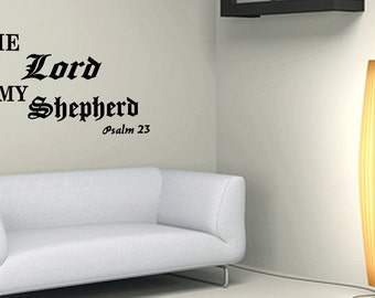 Wall Quotes The Lord Is My Shepherd Psalm 23 Vinyl Wall Decal Quote Removable Christian Wall Sticker Home Decor (C148)