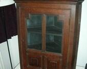 Antique  Oak Corner Cupboard, circa 1860
